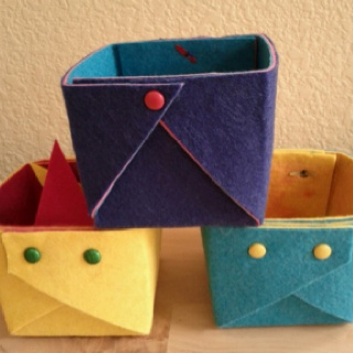 Our variation on the felt boxes from Howaboutorange.com. We used felt from Jen's stash.
