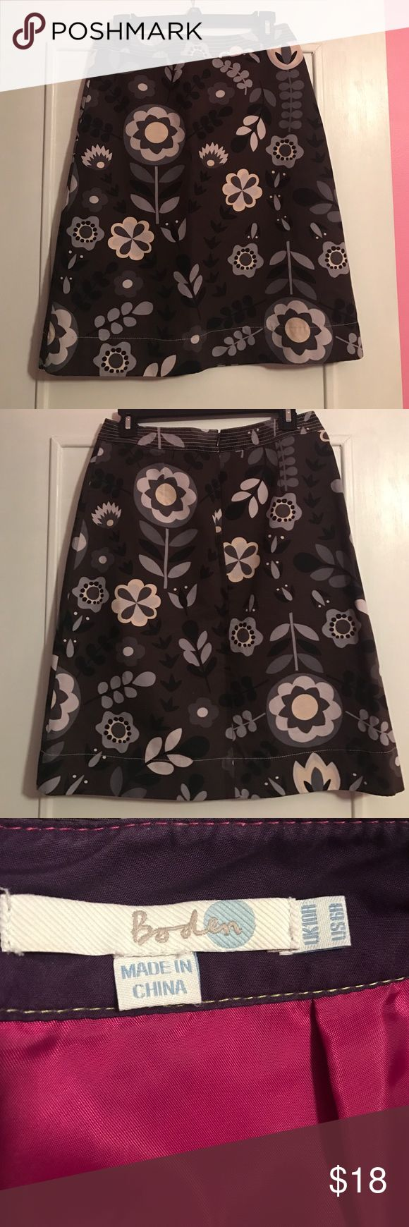 "Boden Muted Floral Skirt Excellent condition Boden Skirt in brown, grays, black, and cream. Size 10R U.K., 6R US. Waist 14"" laid flat, length 22"". Back zipper. Fully lined. Outer is 100% cotton and has a denim feel. Boden Skirts Midi"