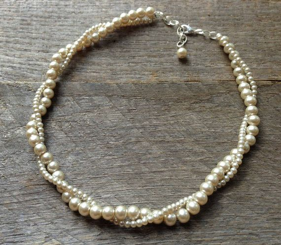 Champagne Pearl Necklace Twisted Clusters on Silver or Gold Chain - Wedding, Bridal, Prom, Birthday Gift
