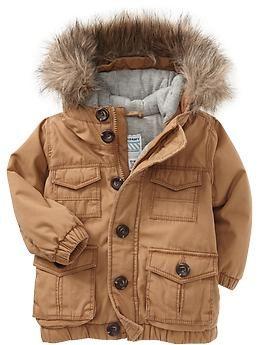 Canvas Snorkel Coats for Baby | Old Navy Утепленное пальто. Хлопок, полиэстер.