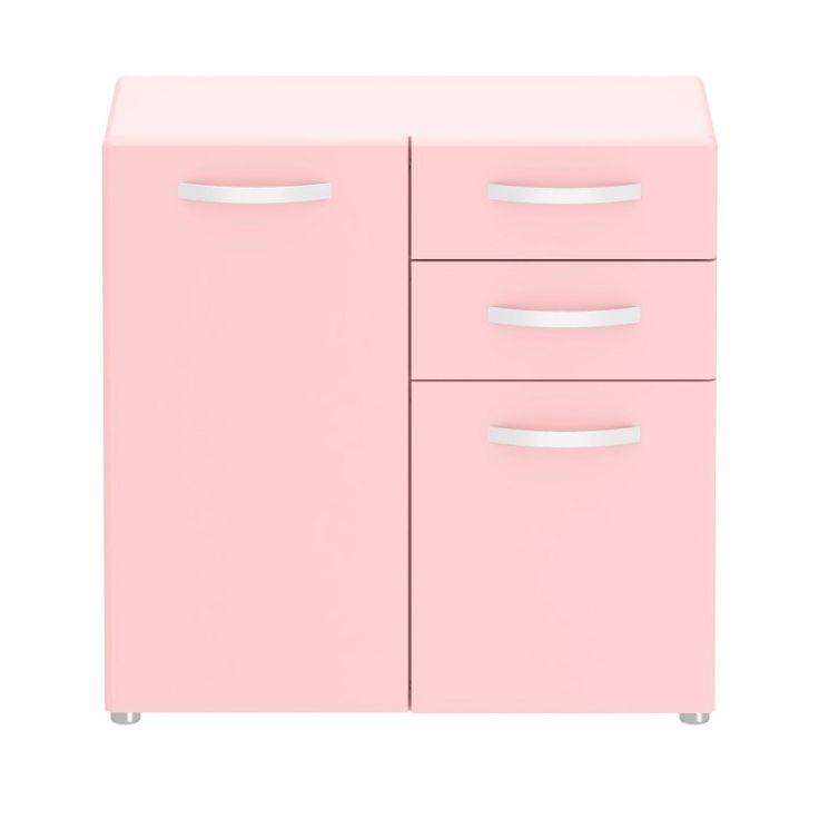 Tolle Kommode in auffälliger Farbe. Auch in grau oder weiss erhältlich. Mit 2 Türen und 2 Schubladen. #moebelpower #moebeltraeume #kommode #sideboard #rosa #farbe #schub #türe #kare #karedesgin