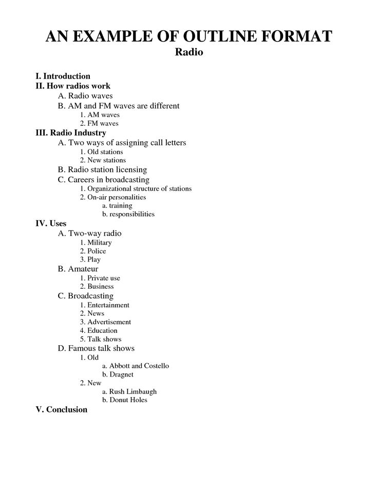 middle school outline sample | AN EXAMPLE OF OUTLINE FORMAT - Download Now PDF