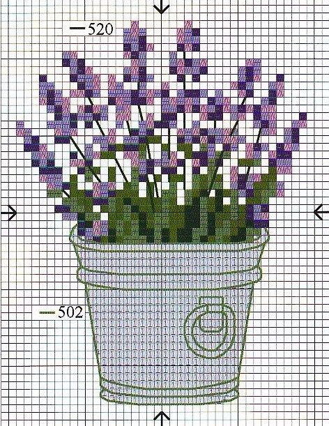 Cross-stitch Lavender... No color chart available, just use the pattern chart as your color guide.