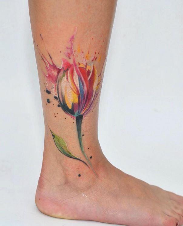 Colorful Tulip Tattoo