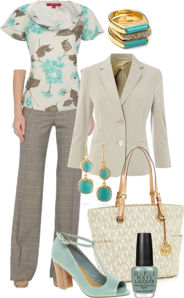 Womens Fashion Lookbook - Love the tan/turquoise combo, the print and fit of the top, and the plaid detail on the pant. The fitted blazer is great, too!