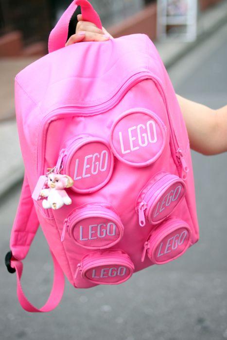 Pink Lego rucksack, shouldn't work but we love it!