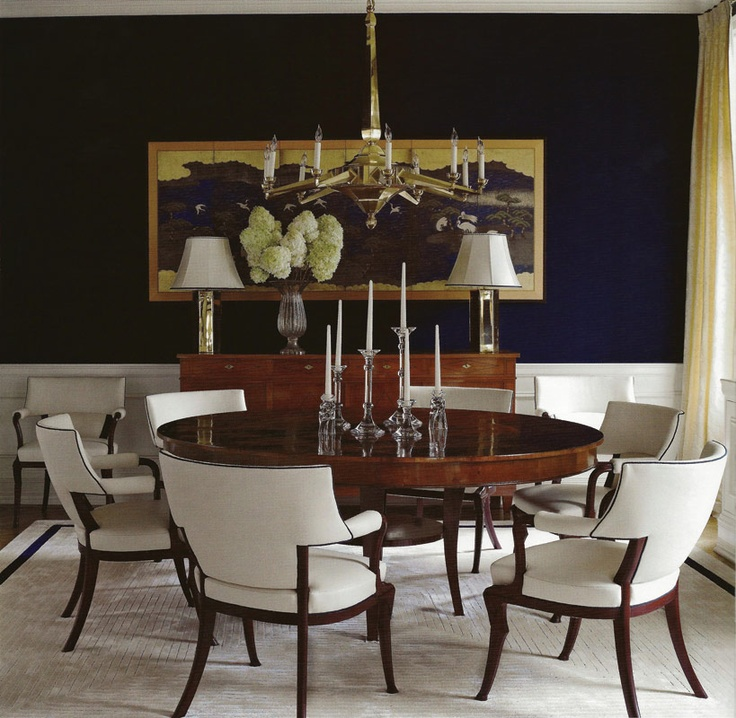 Formal dining room, with nautical blue walls