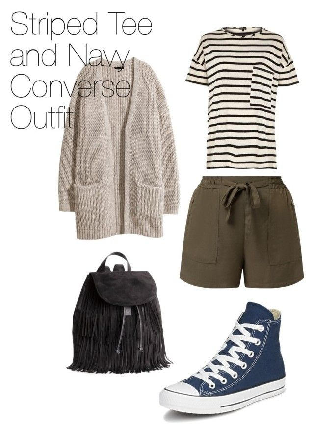 """""""Converse Outfit Series #Striped Tee and Navy Converse Outfit"""" by garnetuniverse on Polyvore"""