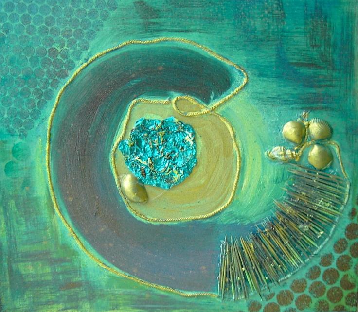 Herma Fichte materie schilderij schelpen,zand en touw. Acryl op mdf