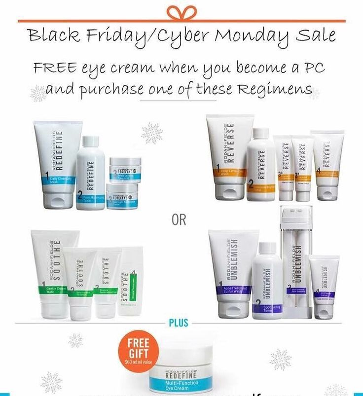 Are you ready for Black Friday Shopping? FREE Multi-function Eye Cream when you buy any regimen! Rodan + Fields is the perfect gift to help Change Your Skin Change Your Life! Contact me today!