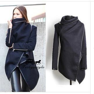 2014 fasion wollen jassen met lange rits o- hals volledige zakken effen nieuwe straat stijl winter vrouwen jas dames trenchcoat jas(China (Mainland))