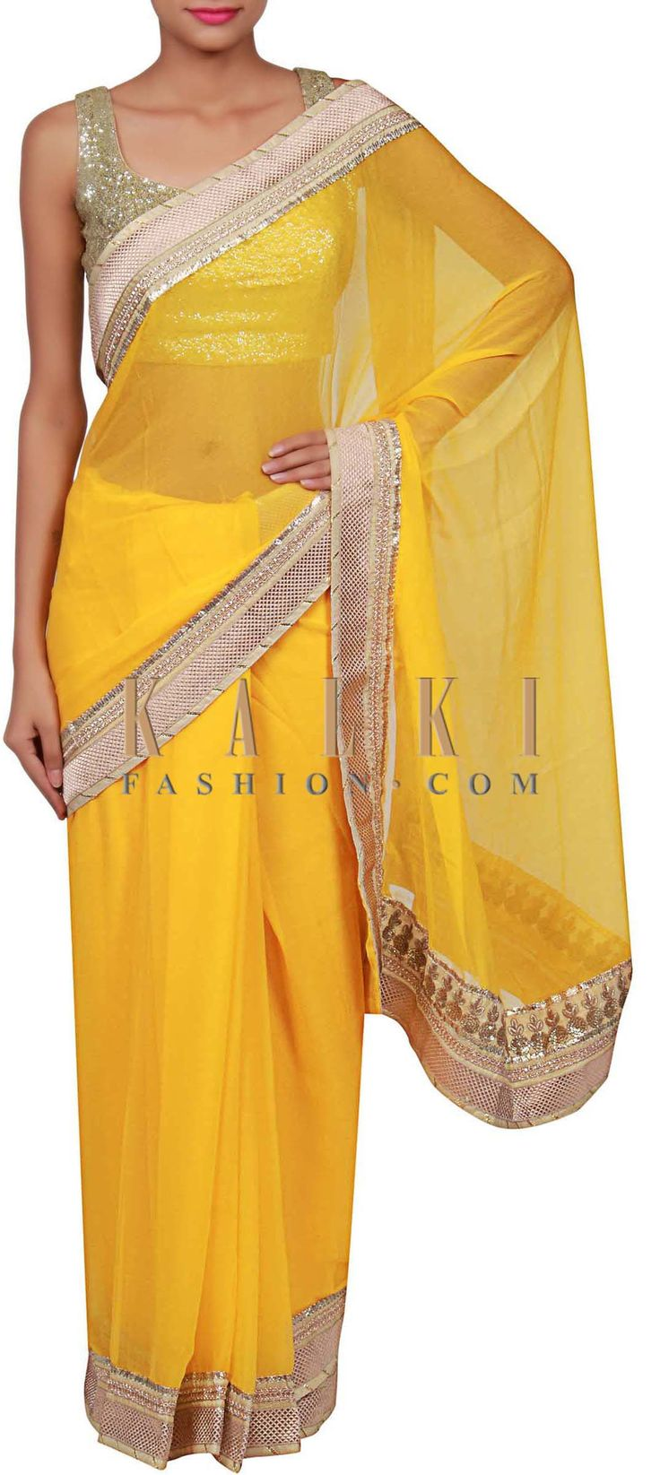 Buy Online from the link below. We ship worldwide (Free Shipping over US$100) http://www.kalkifashion.com/yellow-saree-adorn-in-lace-only-on-kalki.html