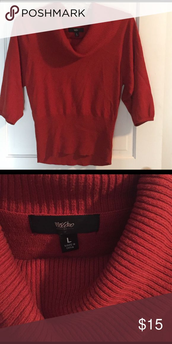 Cowl neck sweater Rust color cowl neck sweater size L. Worn less than a half-dozen times and in excellent condition. Kept stored in a cedar chest. Smoke-free, pet-friendly home. Mossimo Supply Co. Sweaters Cowl & Turtlenecks