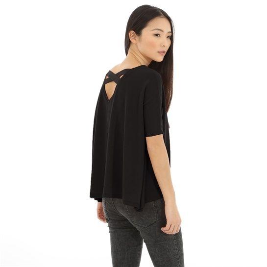 T-shirt dos croisé noir - Collection T-shirt manches longues - Pimkie France