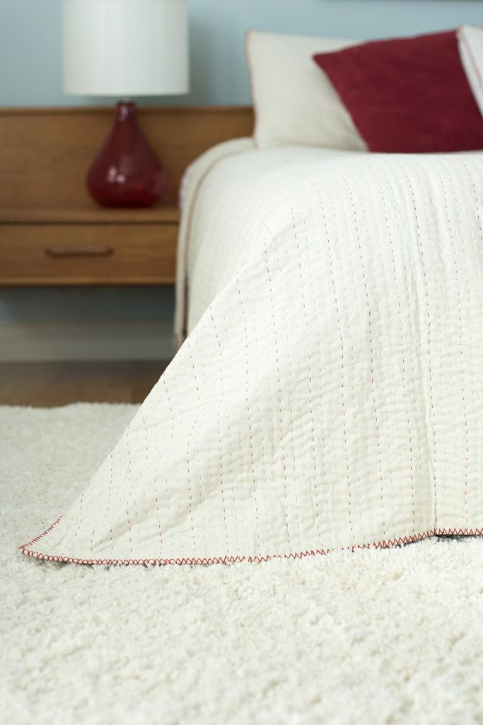 Modern White Quilt Bedding - dignify || This quilted blanket is #handmade in Bangladesh by women who were previously trafficked into or otherwise engaged in formal or floating sex work (or at risk). Now, they are employed in work that brings dignity & livelihood. Find more great products at @philorgs.