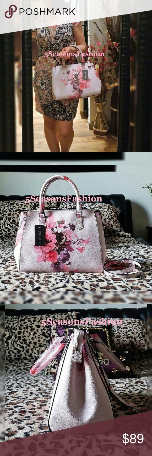 """GUESS Blush Pink FLORAL Satchel LOGO Bag BRAND NEW WITH TAGS! Stunning print handbag from Guess. Blush pink with Guess logo print and beautiful pink and purple florals. MUST HAVE FOR SUMMER 2017! Fun leopard print liner. Comes with a removable/adjustable shoulder strap. Medium size bag. Measures 13""""Lx9""""Hx5.5""""D. FAUX LEATHER. Textured. Guess Bags Satchels"""