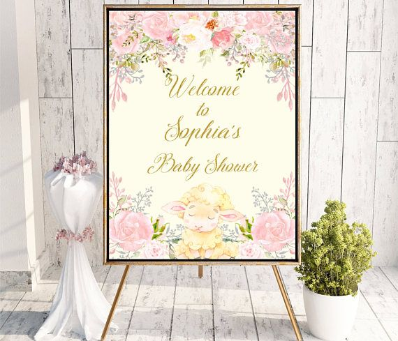 Baby Girl Shower Welcome sign Little Lamb Baby Shower