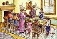 La famiglia cristiana, con la recita della preghiera prima dei pasti. Benedici, Signore, questa mensa e tutti coloro che l'hanno preparata e aiutaci a condividere il nostro pane con coloro che non ne hanno.