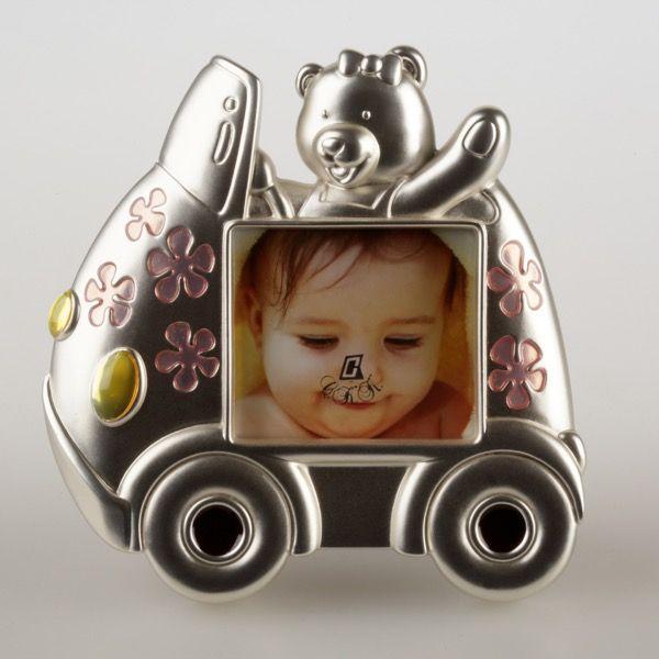 Srebrna ramka dziecięca w kształcie autka