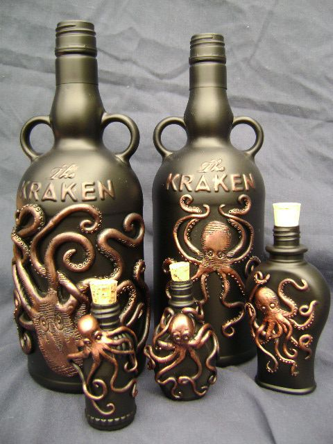 A collection of bottles embellished with many octopii two - Kraken rum pictures ...