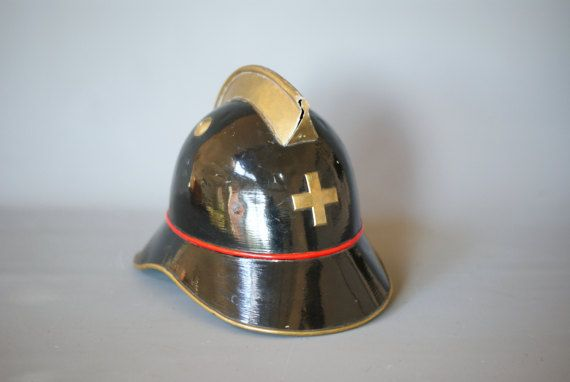 ANTIQUE FIREMANS HELMET, Swiss Brass Fire Helmet, Vintage Fire Helmet, Fire Fighter Helmet, Firemans Helmet Switzerland, Swiss Cross