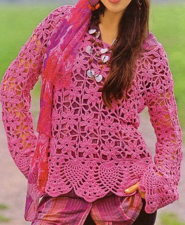 Crochet Sweater: Crochet - Women's Sweater - Beautiful Sweater Gives Gypsy Look