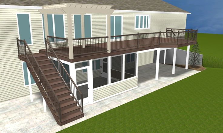 A brand new ft wayne area second story deck with pergola for 2nd floor deck ideas