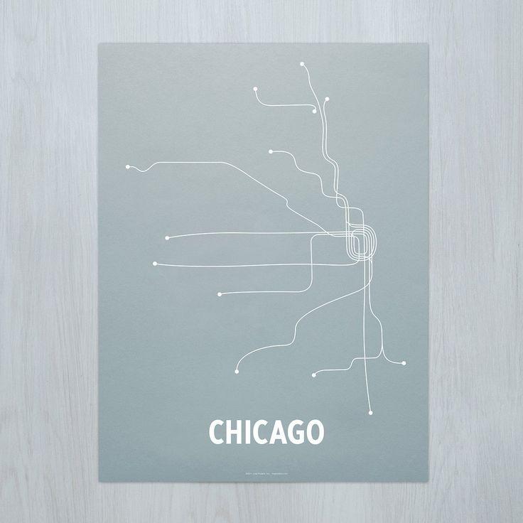 Chicago Map Grid%0A A modern graphic interpretation of Chicago u    s transit system  Original  artwork based on map of the