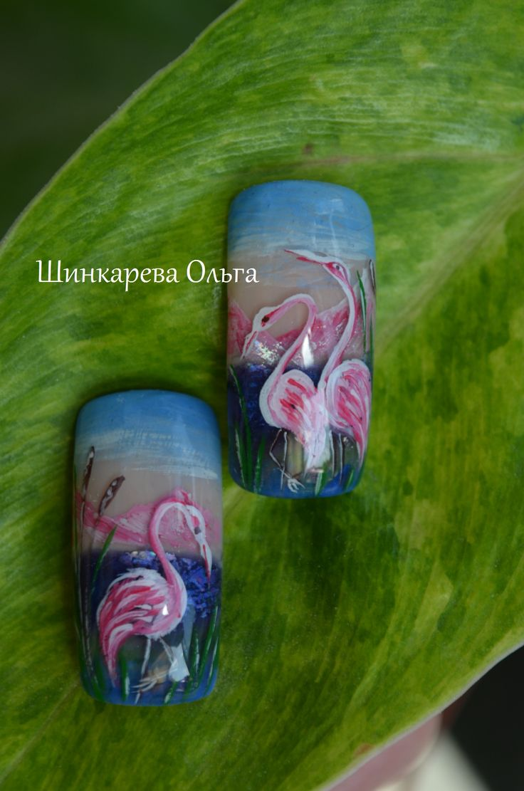 фламинго,розовое,лист,ногти,мода,ноготочки,цветы