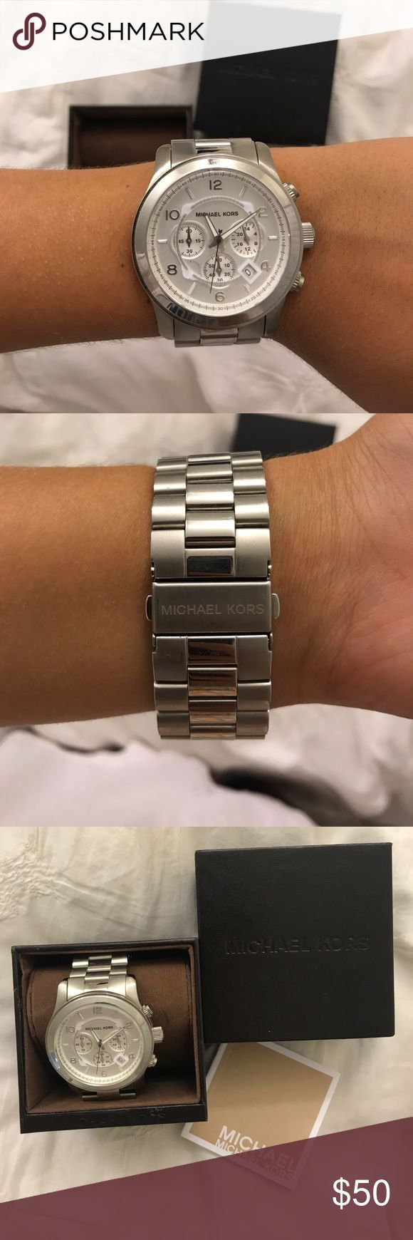 Michael Kors Silver Oversized Watch - BRAND NEW Michael Kors Silver Oversized Watch!! BRAND NEW! No scratches! In original box with warranty papers ! Michael Kors Accessories Watches
