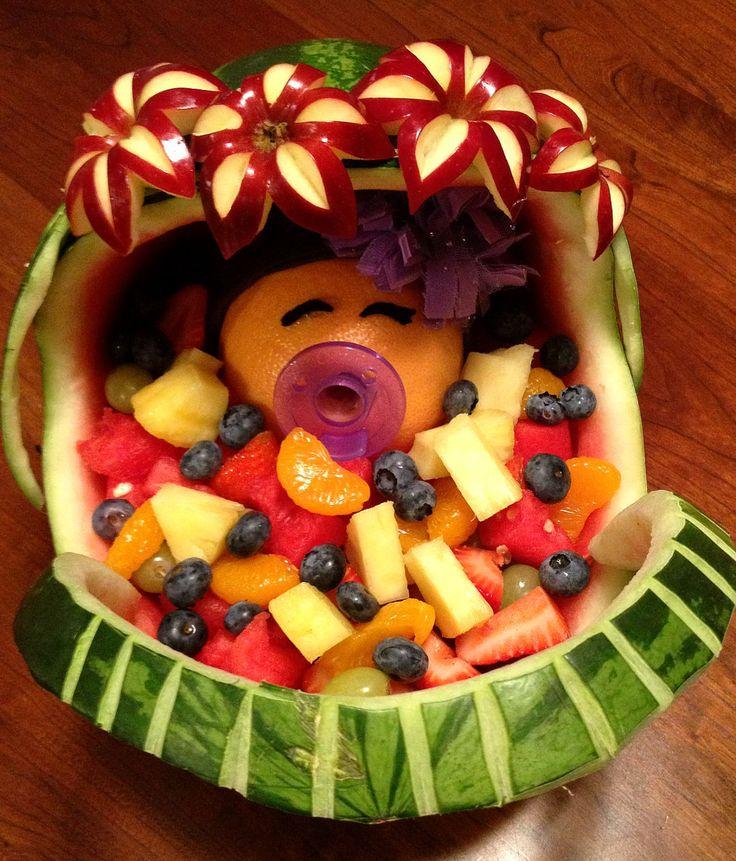 Baby fruit basket   Food carving, Baby fruit baskets, Fruit