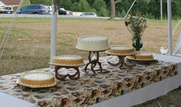 Jason made these cake stands for our wedding with old horseshoes from the barn. They are very awesome, if I say so myself!