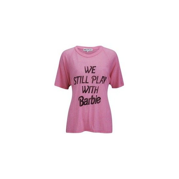 Wildfox Women's Not Too Old Barbie T-Shirt - Neon Convertible ($44) found on Polyvore featuring women's fashion, tops, t-shirts, neon tees, relax t shirt, neon tops, wildfox tees and relaxed fit t shirt