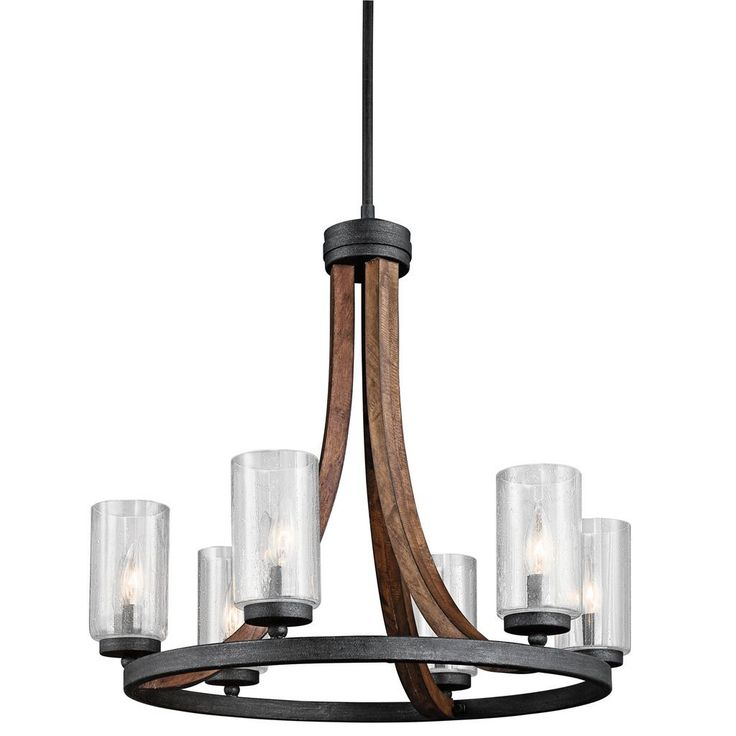 This 6 light chandelier from the grand bank collection features an auburn stained finish that