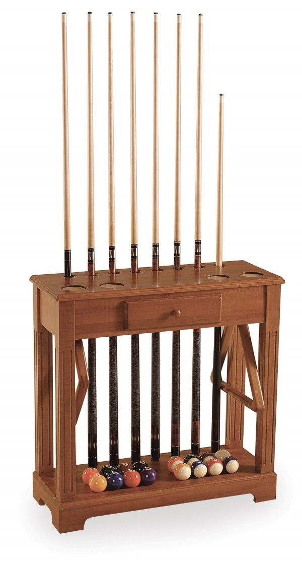 Classic Cue Stand with Drawer