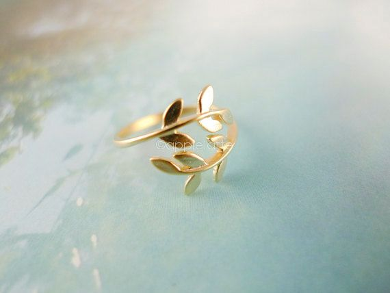 leaf ring laurel ring in sterling silver 925 gold or by applelatte, $11.00 size 8 1/2
