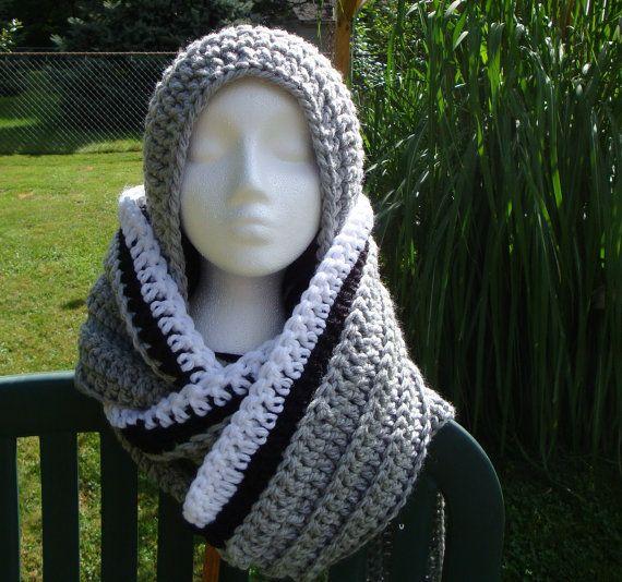 Crochet Hooded Scarf Neckwarmer Cowl Gray Black by CherylsKnits, $50.00