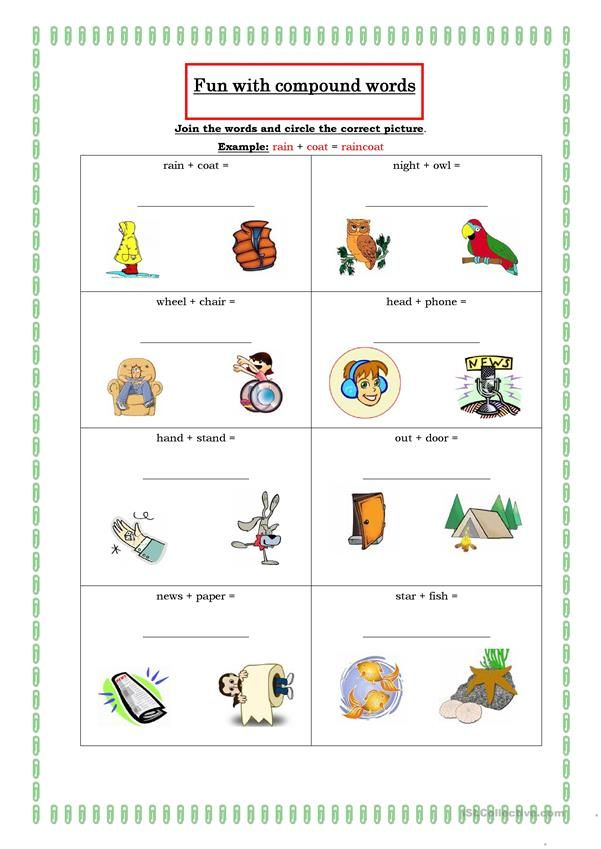 Fun With Compound Words Compound Words Compound Words Worksheets Teaching Vocabulary Compound word worksheets with pictures