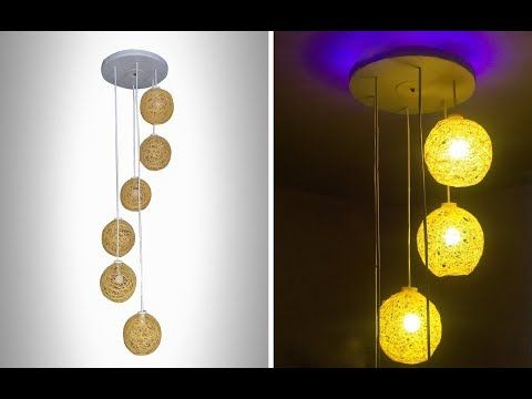 How To Make A Homemade Wrapped Balloon Lamp Homemade Lamp Diy