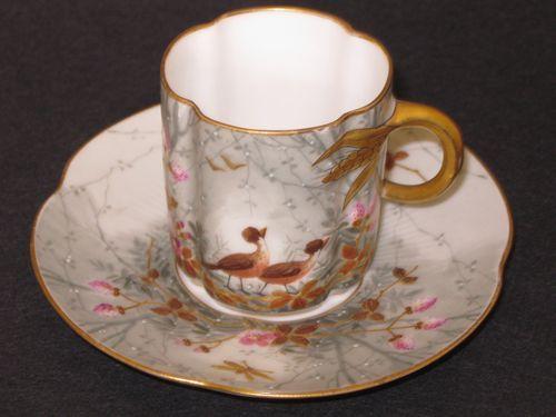 Antique Depose Limoges Porcelain Demi Demitasse Hand Painted Tea Cup Saucer: