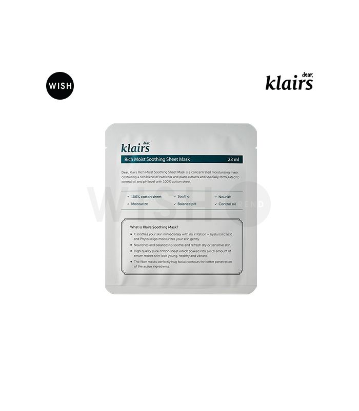 KLAIRS Rich Moist Soothing Mask | Korean Beauty Products | Recommended KBeauty Cosmetics for Dry Skin