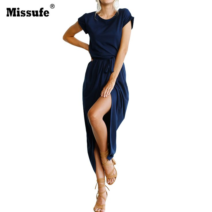 >> Click to Buy << Missufe Split Casual Loose Maxi Dress With Belt Vestido 2017 Sexy Lady Outfit Sarafan Ukraine Women Summer Long Dress #Affiliate