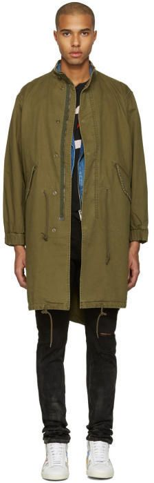 Saint Laurent Green Sweet Dreams Military Parka