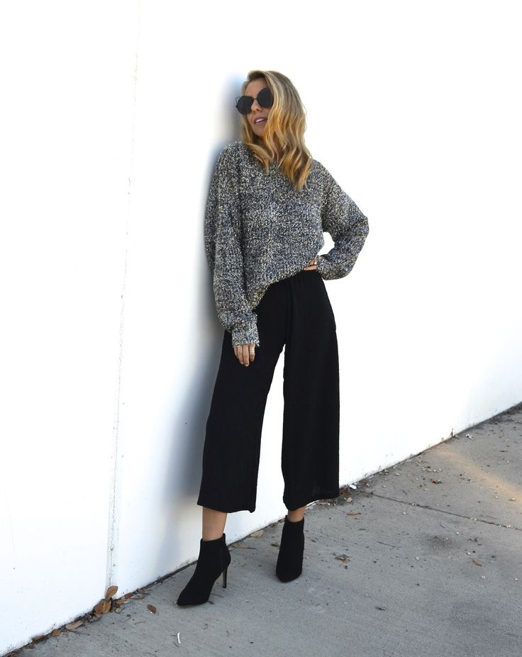 Styling A Metallic Sweater Two Ways - Jaclyn De Leon Style- fall outfit  inspiration + holiday style + casual street style + what to wear this  holiday + affordable style + forever 21 + how to style the metallic  trend + mom style + black crop flare pants + metallic sweater