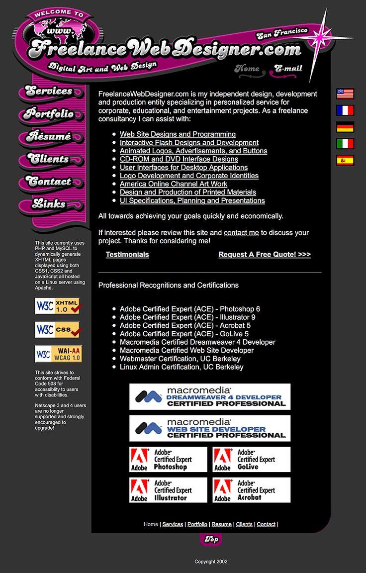 FreelanceWebDesigner.com website in 2002
