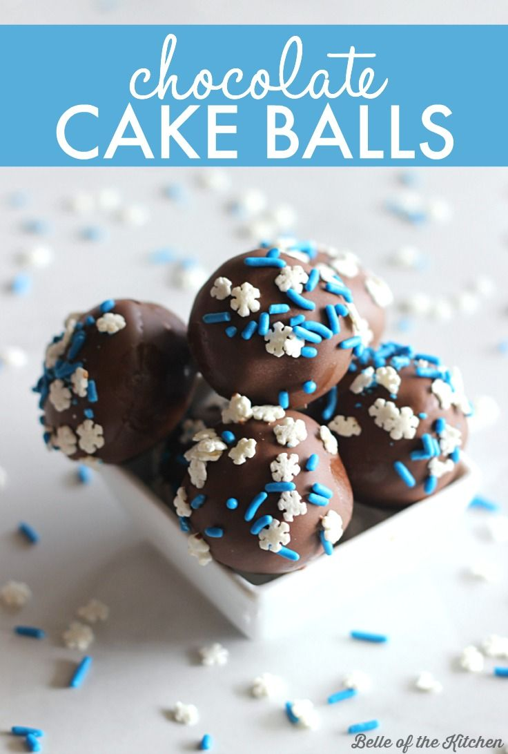 This Chocolate Cake Balls recipe is made with crumbled cake and chocolate frosting, then dipped in melted chocolate and covered with sprinkles. They're the perfect treat for the holidays, or dessert any time of year!