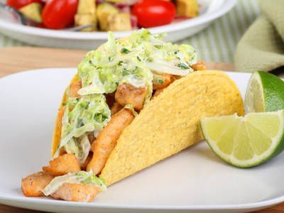 Seared Salmon and Coleslaw Tacos