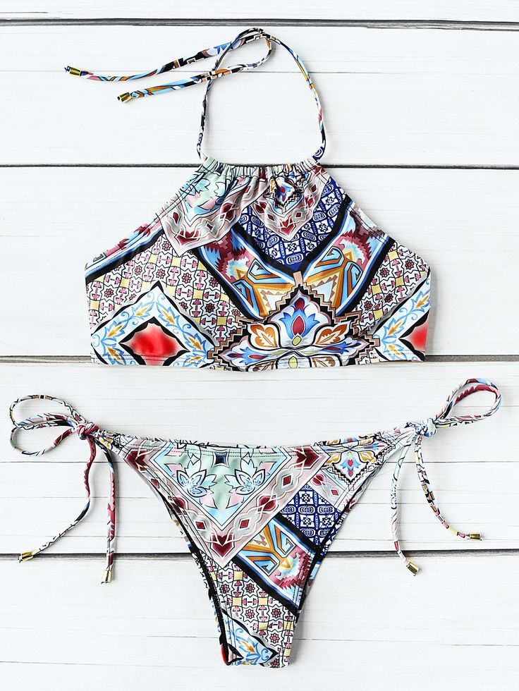 Shop Graphic Print Side Tie Halter Bikini Set online. SheIn offers Graphic Print Side Tie Halter Bikini Set & more to fit your fashionable needs.