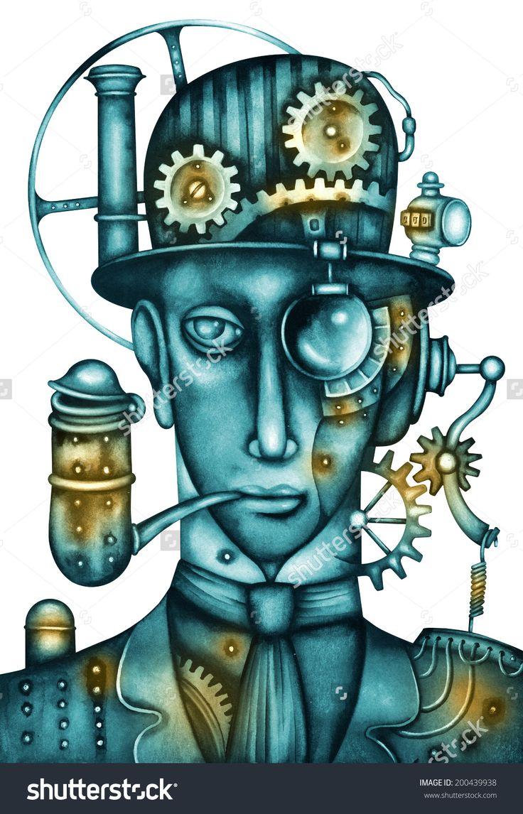 Steampunk Man Illustration by Eugene Ivanov. #eugeneivanov #steampunk #science #fiction #fantasy #machinery #victorian #illustration #art #original  #@eugene_1_ivanov