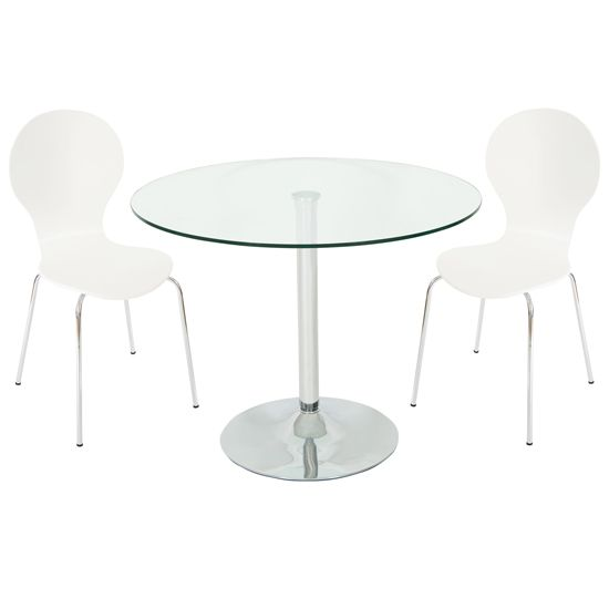 Roma Round Clear Glass Dining Table And 4 White Chairs